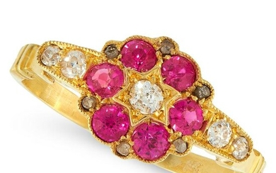 AN ANTIQUE RUBY AND DIAMOND DRESS RING in yellow gold