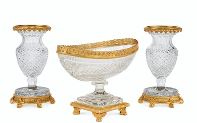 AN ASSEMBLED FRENCH ORMOLU-MOUNTED CUT-GLASS THREE-PIECE GARNITURE, LATE 19TH/20TH CENTURY