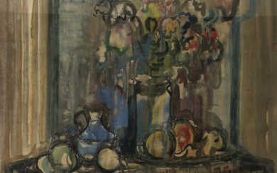 Aharon Avni (1906-1951) - Still Life, Watercolor on Paper.