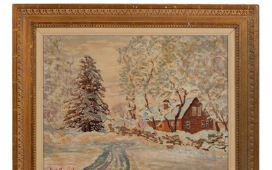 American Winter Snow Painting after Guy Wiggins