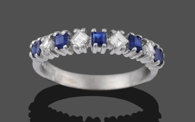 An 18 Carat White Gold Sapphire and Diamond Half Hoop...