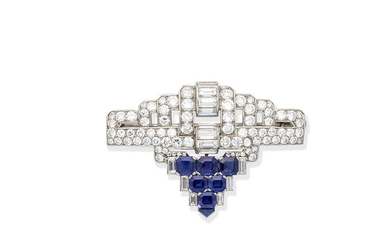 An Art Deco sapphire and diamond brooch