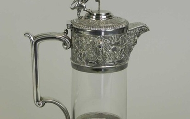 An Elkington & Co silver plated mounted glass claret jug