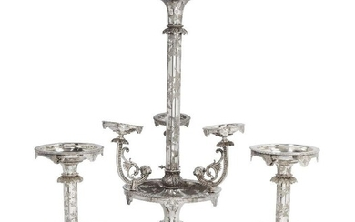 An impressive silver plated three part table centrepiece, comprising: a...