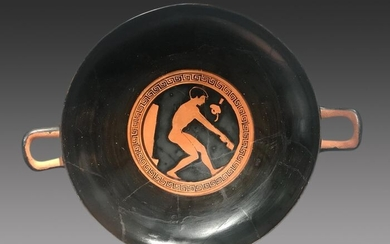 Ancient Greek Ceramic Superb Kylix depicting an athlete with TL 30x 22 cms - (1)