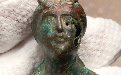 Ancient Roman Bronze Excellent Rare decorative Hollow Bust of Artemis the Goddess of Hunt.