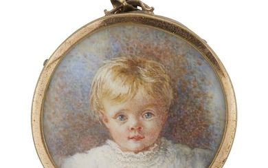 Anglo-American School 19th century Portrait miniature of a young...