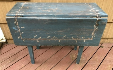 Antique 19th C Hand Painted Drop Leaf Dining Table