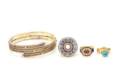 Antique Gold, Sapphire, Diamond and Pearl Bangle Bracelet, Two Rings and Brooch