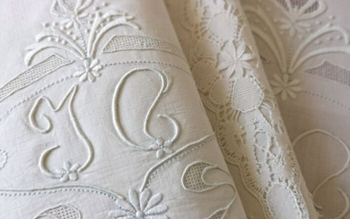 Antique pure linen bedding set with large hand embroidery - 220 x 280 cm (2) - Linen - Second half 19th century