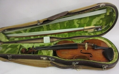 Antique violin with a one piece back, signed Hopf in a case ...