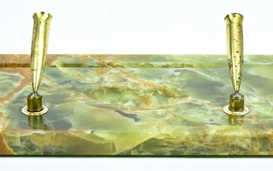 Art Deco Style Carved Green Onyx Desk Accesory
