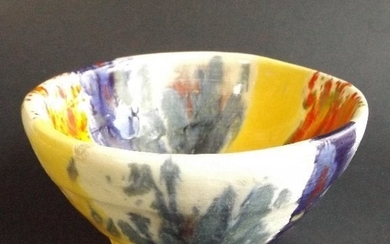 Art Pottery Bowl, Abstract design artist signed