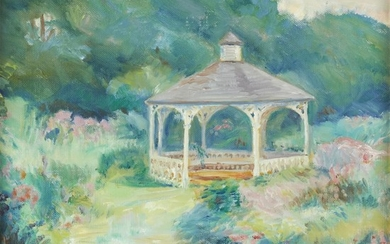 Beverly Garnett (American, 1938-2006) Gazebo, Yellow Springs Signed bottom...