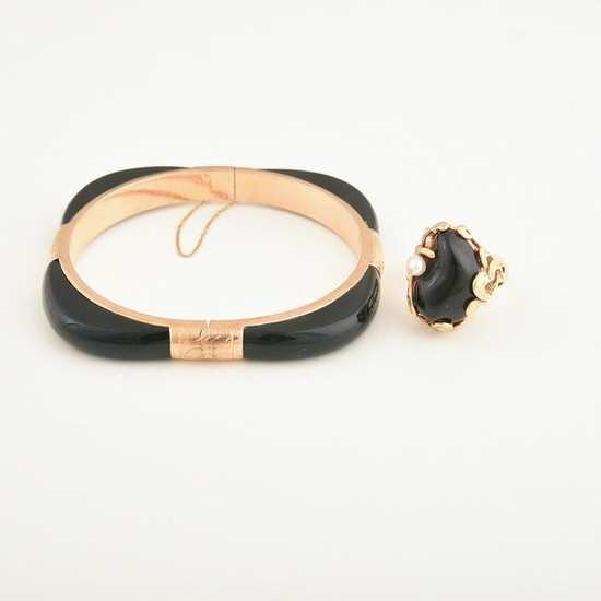 Black Onyx, Cultured Pearl, 14k Yellow Gold Jewelry