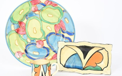 Blue Chintz' a Clarice Cliff Bizarre plate, painted...
