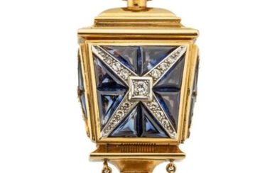 Brooch in the form of a lantern with an Omega watch, 2nd half of the 20th Century