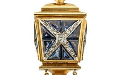 Brooch in the form of a lantern with an Omega watch