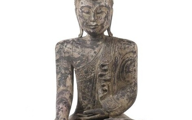 Buddha Southeast Asia/well Myanmar, wood, patinated and mounted, in vajrasana sitting Buddha, holding the hands in bhumisparsa mudra, dressed in a simple garment with floral ornamentation, lowered look, gentle smile and long earlobes, narrow tiara...