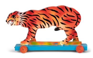 CARVED AND HAND-PAINTED 20th CENTURY INDIAN WOODEN TIGER PULL-TOY