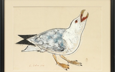 CHARLES CULVER AMERICAN 1908 1967 WATERCOLOR WITH GOUACHE 1954 SIGHT 15.5 19 BIRD
