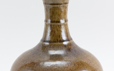 """CHINESE OLIVE BROWN GLAZE PORCELAIN VASE In gourd form, with banded design on the neck. Height 13.5""""."""
