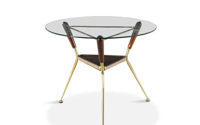 COFFEE TABLE A brass and wood coffee table,...