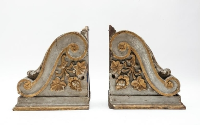 Carved Wooden Acanthus Leaf Corbels, Pair