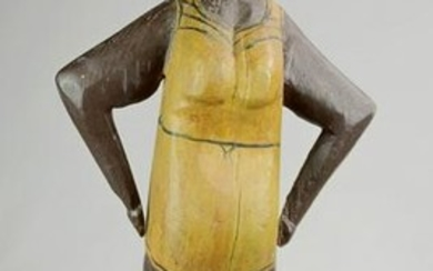 Carved & painted wood figure of African American woman
