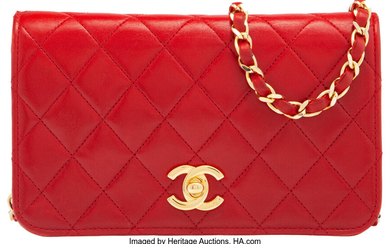 Chanel Red Quilted Lambskin Leather Wallet on Chain with...