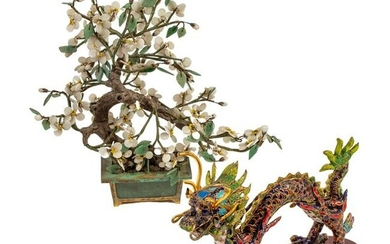 Chinese Export Cloisonne Dragon and Jade Tree LOT