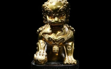 Chinese Gilt Bronze Guardian Lion, 18th-19th Century