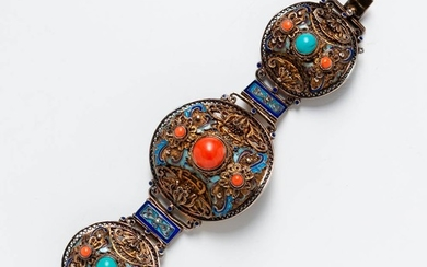 Chinese Gilt-silver Enamel, Turquoise, and Coral Bracelet