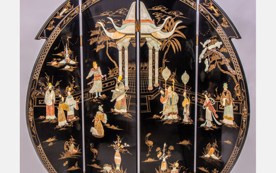 Chinese Lacquered 4 Panel Floor Screen