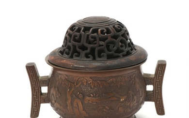 Chinese bronze censer, the sides with wise man in a garden in releif Marked Xuande, 19th century.