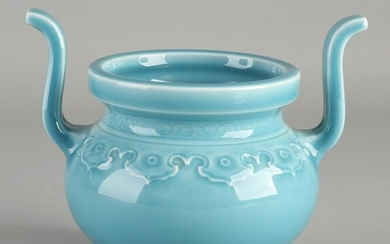 Chinese porcelain incense burner with light blue glaze
