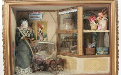 Custom Made Dollhouse Millinery Shop w Antiques