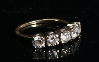 DIAMOND HALF ETERNITY RING BAND 14K, 1CT TOTAL