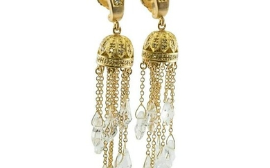Diamond Earrings Quartz Crystal Dangle Drop 18K Gold