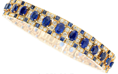 Diamond, Sapphire, Gold Bracelet The bracelet features oval and...