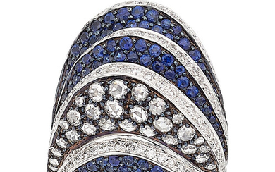 Diamond, Sapphire, White Gold Ring The ring features round-cut...