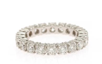 Diamond eternity ring set with numerous brilliant-cut diamonds, totalling app. 2.40 ct., mounted in 18k white gold. F/VVS-VS. Size 54.