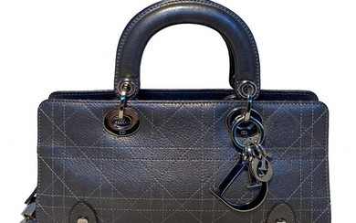 Dior Silver Cannage Leather East West Lady Dior