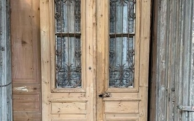 Double doors with glass and iron framework - French pine wood - circa 1900