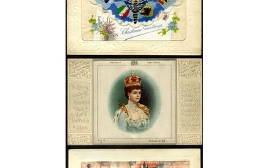EMBROIDERED SILKS album of 68 cards, mainly WWI silks, also ...
