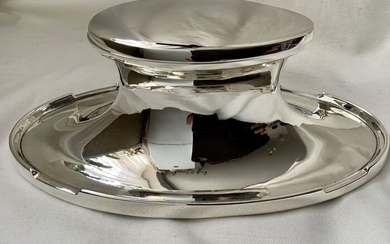 English Art Nouveau sterling silver oval inkwell - .925 silver, Possibly plate bottom from lead - James Whitehouse & Son, - U.K. - 1913