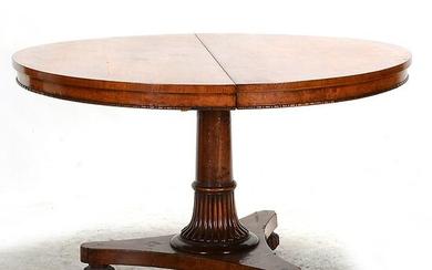 English William IV Burl Elm Round Breakfast Table