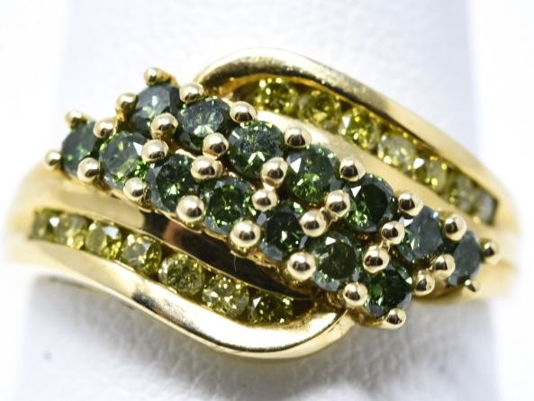 Estate 14kt Yellow Gold & Colored Diamond Ring