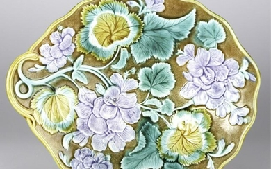 FINE QUALITY MAJOLICA TRAY with VIOLETS