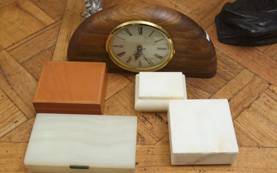 FOUR DECORATIVE BOXES, VARIOUS MATERIALS INCLUDING ONYX, MARBLE AND LEATHER MOUNTED, TOGETHER WITH A MANTEL CLOCK MADE FROM CANADIAN...
